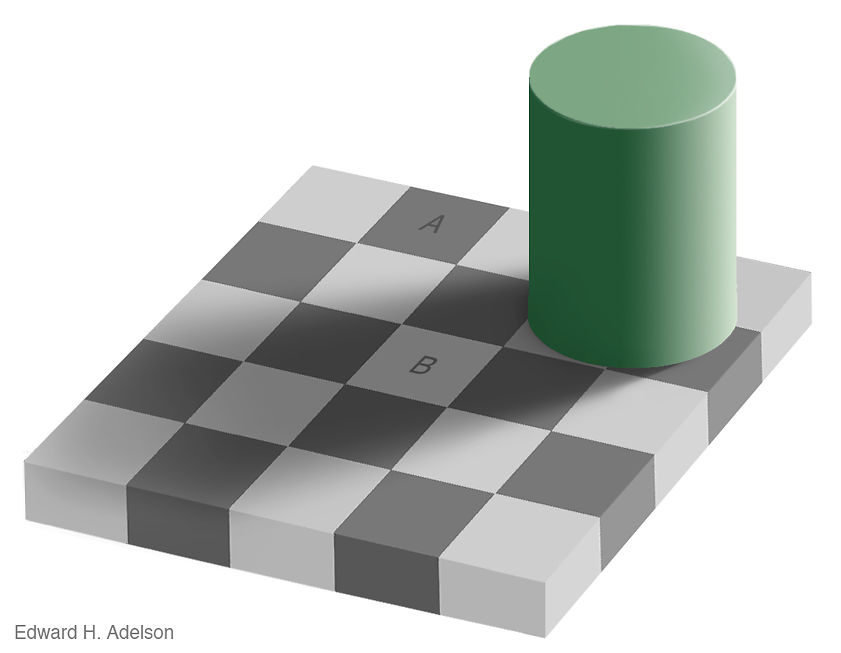 Areas of the image A and B are the same color