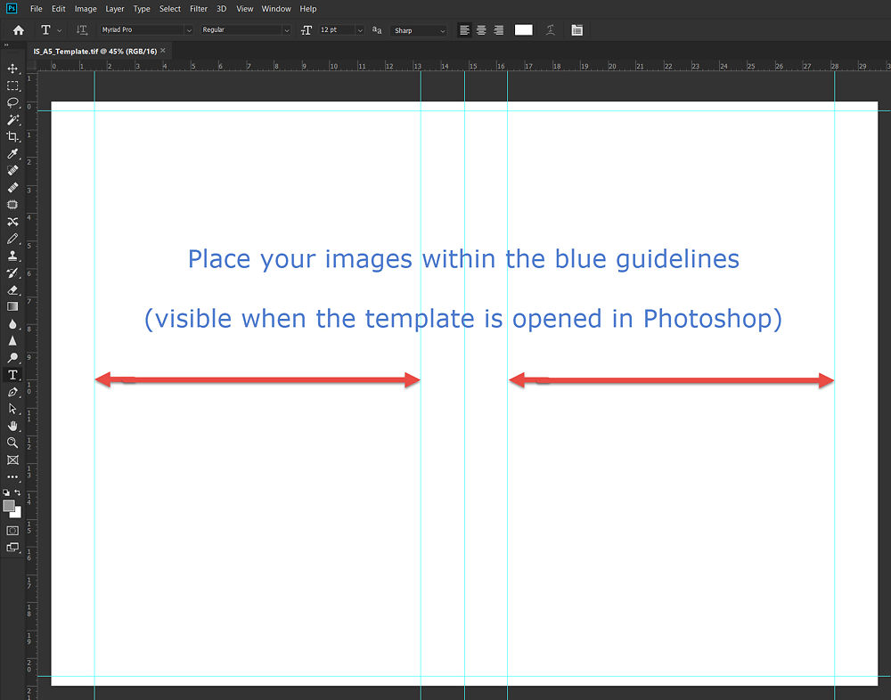 Download our A5 template and open it in Adobe Photoshop to view and set up the printable area for each A5 print.
