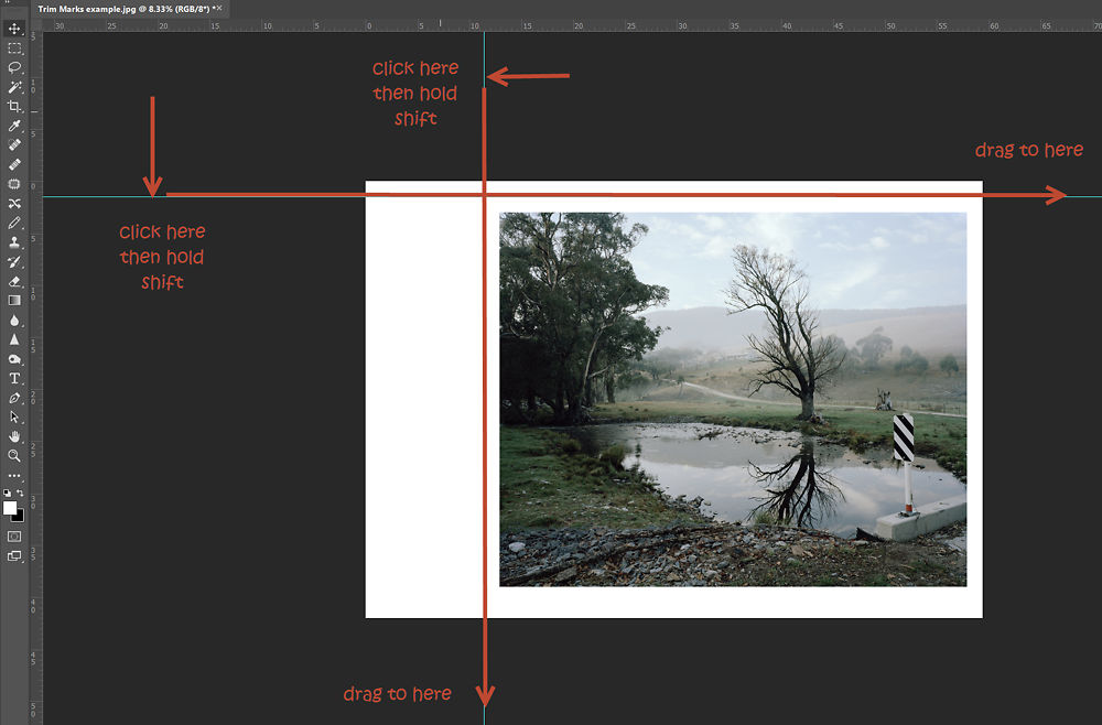 With the pencil set to 1 pixel width in light grey, click, then hold shift and drag along the guideline across the complete canvas.