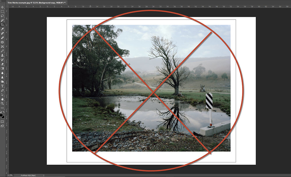 Example of an image with a 'stroke' added for a trim line. DO NOT use this approach as it makes it hard to line up edges in a guillotine.