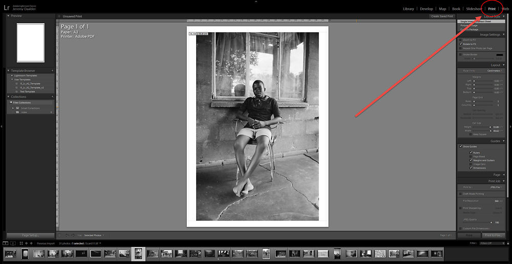 Once you're finished editing your images for print, navigate to the print module to get started.