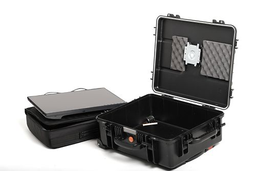 Hard Case, showing the nifty monitor mount