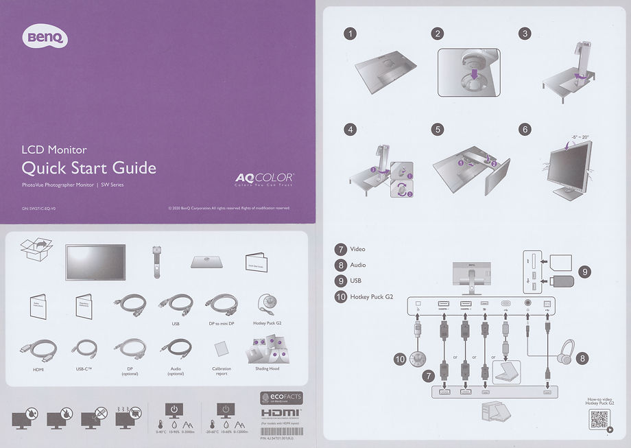 Ben Q SW271c Quick Start Guide Front and Rear