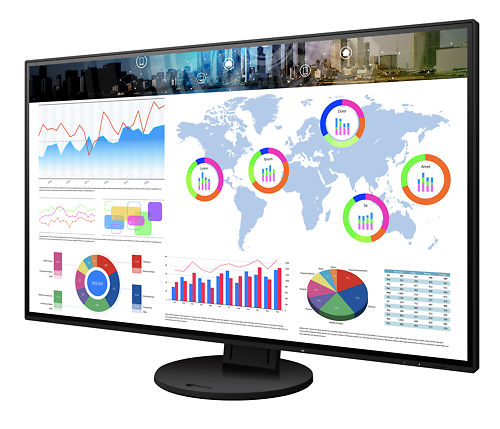 Eizo Flexscan EV3285 32 Inch Monitor Black Display With Contents Side View