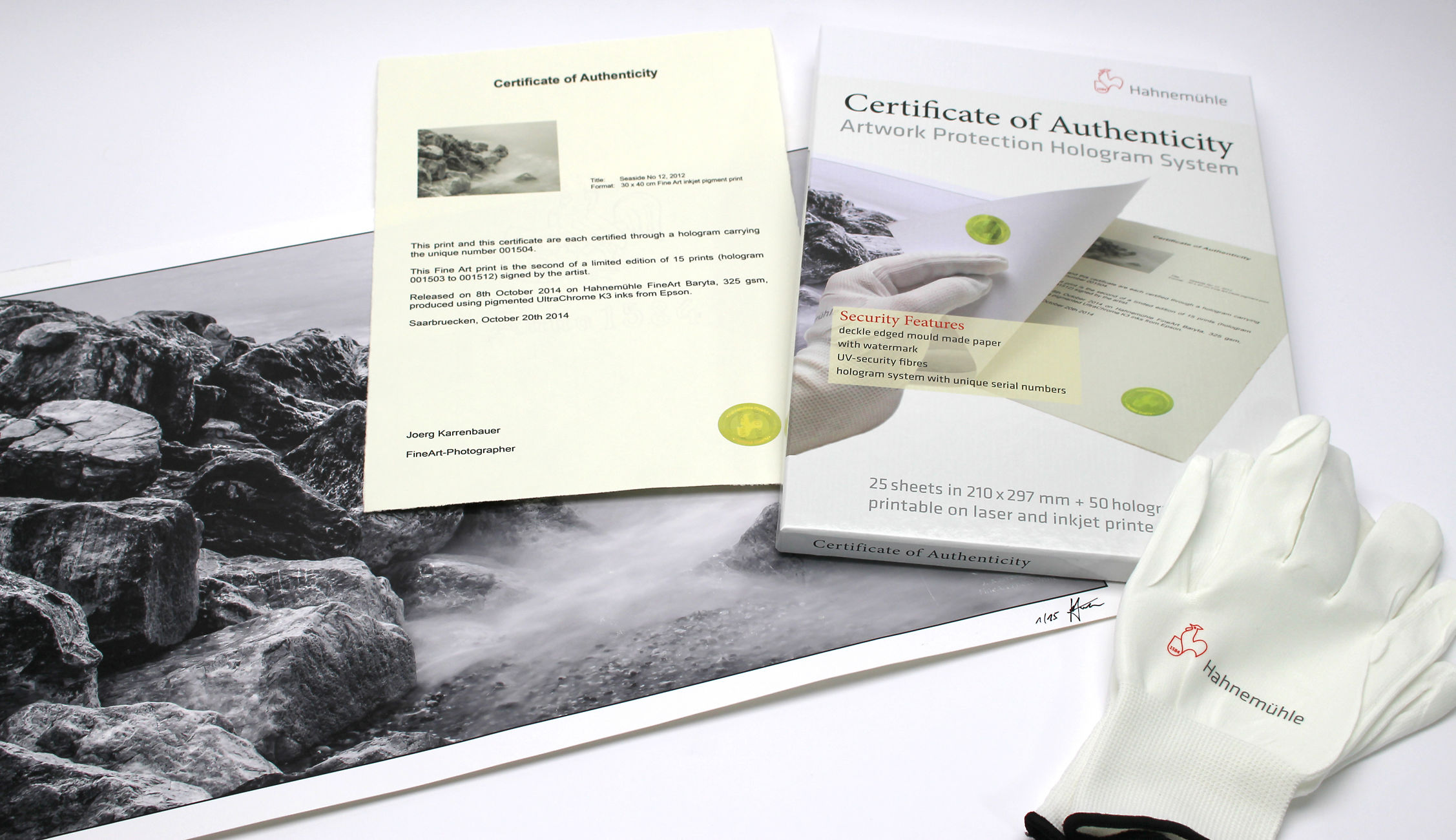 Hahnemühle Authenticity Certificates Image