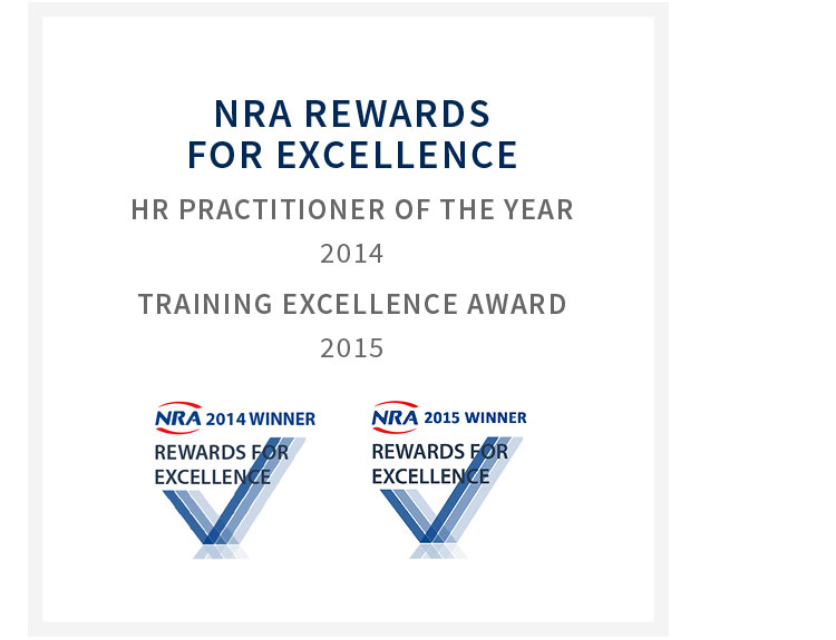 NRA Rewards for excellence - HR practitioner of the year 2014 and training excellence award 2015