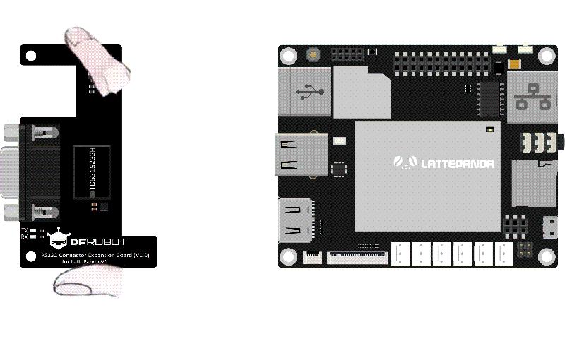 Plug RS232 Shield into LattePanda V1