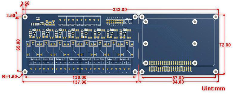 RPi Relay Board (B) dimensions