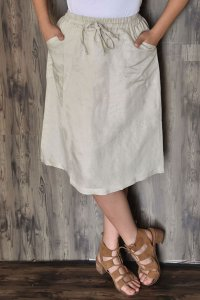 Linen Spandex Day Skirt with Front Tie and Pockets