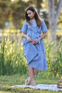 V-Neck Dress with Fold up Sleeves and Belt