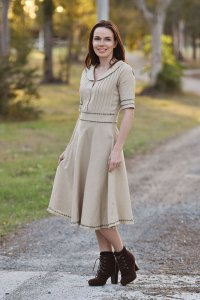Embroidered Trim Collared Dress