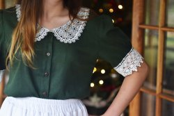 Blouse with Lace Collar Sleeves
