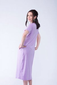 Cotton Stretch Lilac Maternity Nursing Dress
