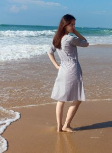 Pinstripe Nursing Dress with Zippers