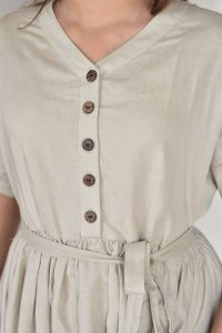 Natural Linen Circle V Neck Dress with Buttons and Belt