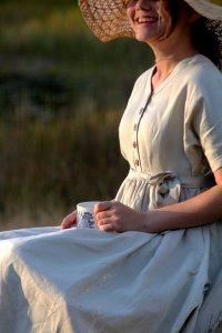 100% Natural Linen V Neck Circle Dress