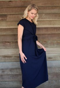 Maternity Knot Dress - Solid Colour - Maxi or Midi