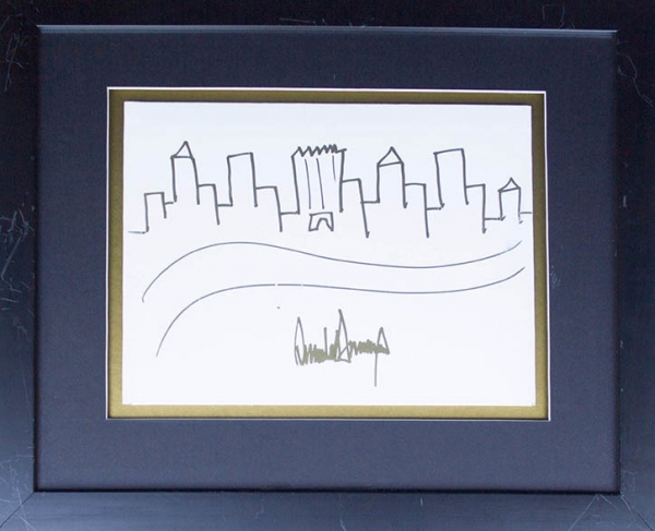 Donald Trump's naive illustration of New York City's skyline currently on auction