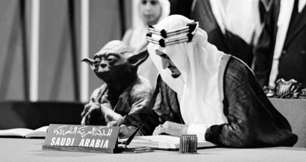 Saudi Arabia printed an image of Yoda sitting next to the king in a school textbook