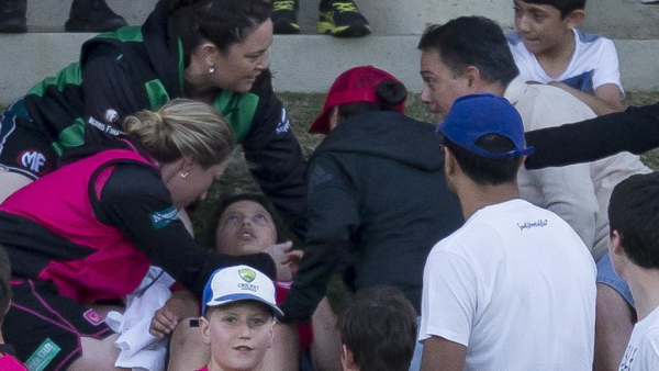 WBBL: Boy hit in the face by Ellyse Perry six at North Sydney Oval