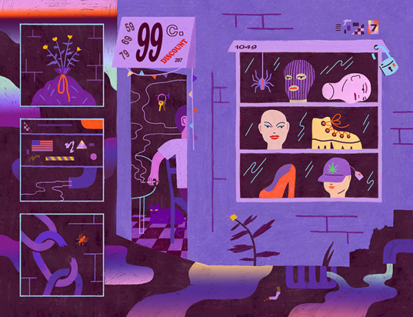 Ariel Davis uses purple-hues and hand-drawn shapes for her editorial illustrations