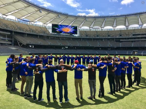 West Coast Eagles huddle up at new stadium home