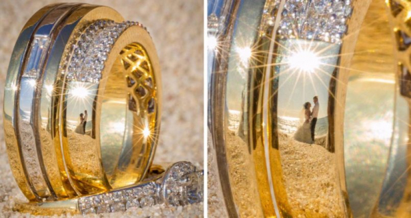 These wedding rings reflect the happy couples who will wear them