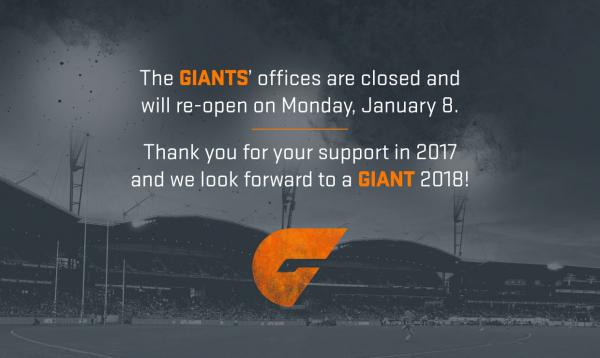 GIANTS' Office Closure