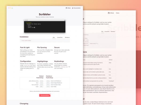 "Freebie: ""Scribbler"" Website Template (HTML, Sketch)"
