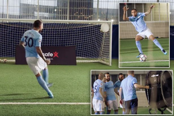 Manchester City stars take on incredible shooting challenge in 80mph winds