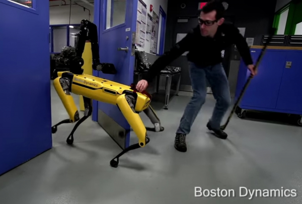 Humans sow seeds of destruction by abusing poor robot just trying to walk through a door
