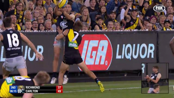 Video: Rusty umpires' handball howlers has fans from Richmond and Carlton up in arms