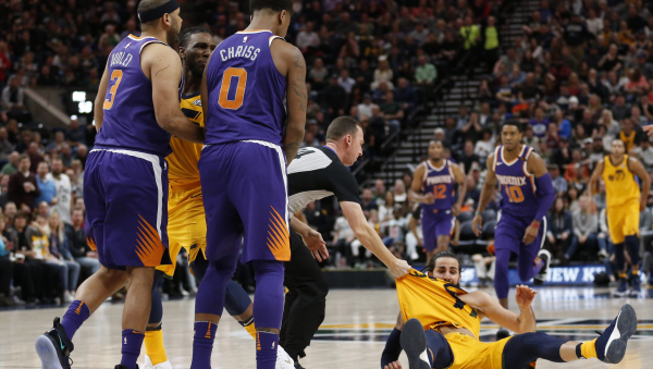 Suns' Marquese Chriss, Jared Dudley fined $25,000 each for knocking down Ricky Rubio