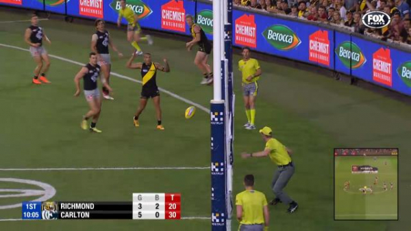 Video: Jack Riewoldt ignites Richmond, after Carlton kicks opening five goals
