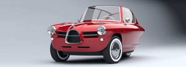 the nobe 100 is a three-wheeled EV with lots of vintage inspiration