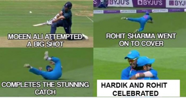 Watch : Rohit Sharma Taking The Sensational Catch Of The Innings To Dismiss Moeen Ali