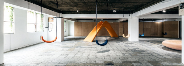 mikiya kobayashi puts together a park of furniture in playscape exhibition