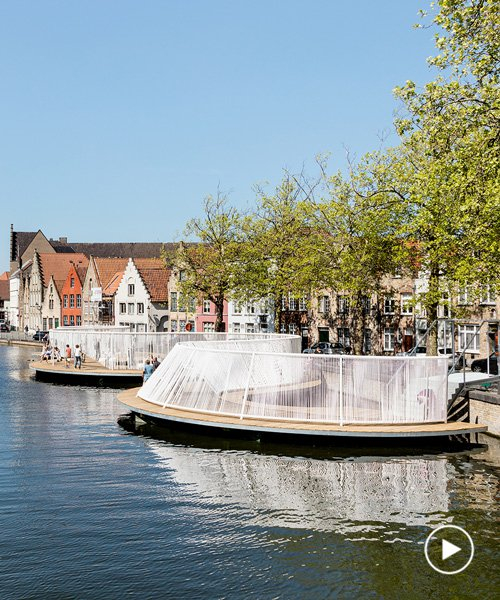 pavilion with playful swings and hammocks floats in a bruges canal, by OBBA and dertien 12