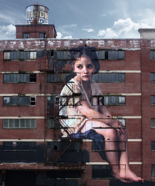 neoclassical girl graces seven-story building in monumental painting by julien de casabianca