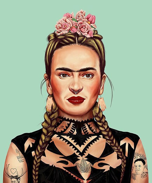 illustrator reimagines iconic artists as modern day hipsters