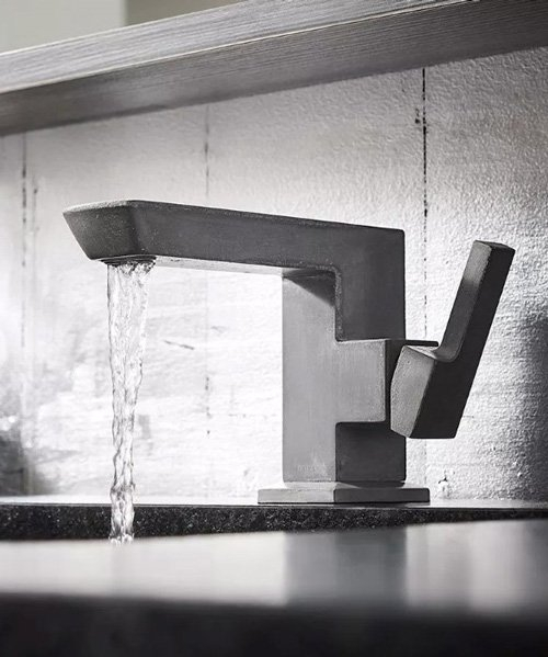 christopher shannon sculpts vettis faucet from concrete and charcoal