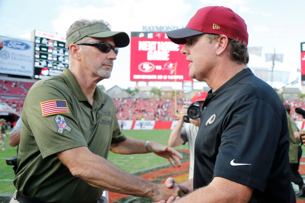 Redskins troll Buccaneers, Dirk Koetter with coach handing out Ls instead of candies