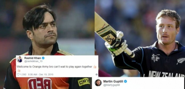 IPL 2019 : Martin Guptill Gave A Hilarious Reply To Rashid Khan's Welcome Tweet For Him