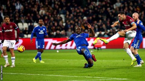 Sub Perez scores twice as West Ham see off Cardiff
