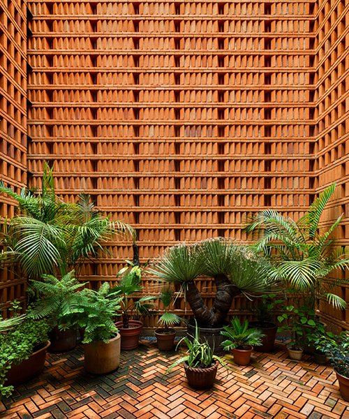 this studio of rhythmic brickwork was completed for a renowned mexican photographer