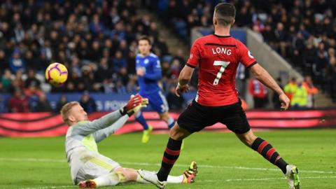 Long's first goal in nine months gives Southampton win over Leicester