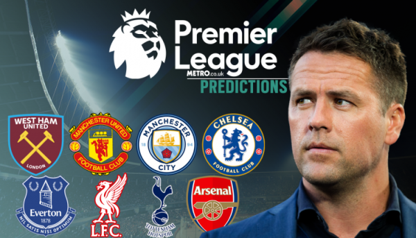 Michael Owen's Premier League predictions, including West Ham v Arsenal and Tottenham v Manchester United