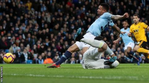 Jesus scores twice as Man City coast past 10-man Wolves
