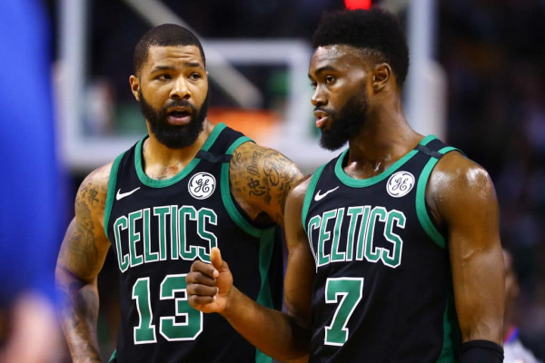 Marcus Morris Pushes Jaylen Brown in Celtics' Timeout Huddle