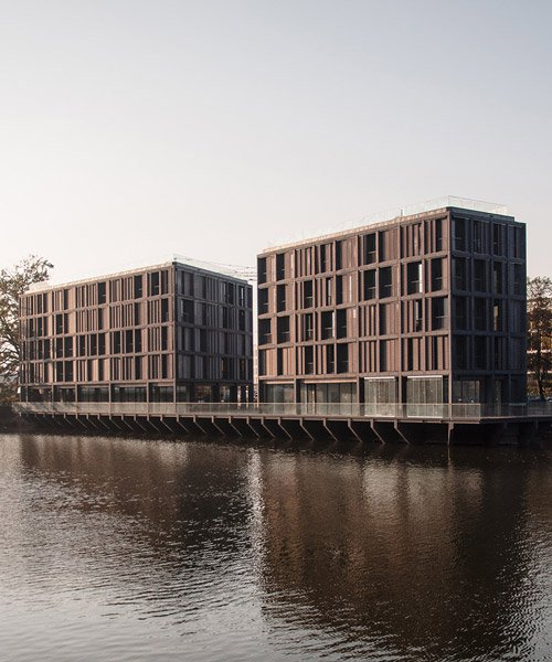 major architekci constructs 'marina III' residential complex on small island in wrocław
